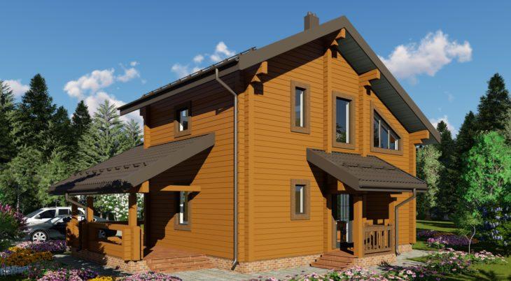 Проект дома из бруса Д-577 фото