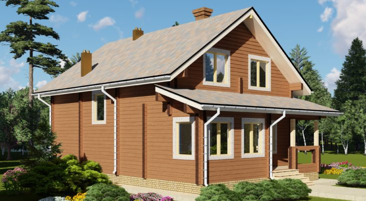 Проект дома из бруса Д-518 фото