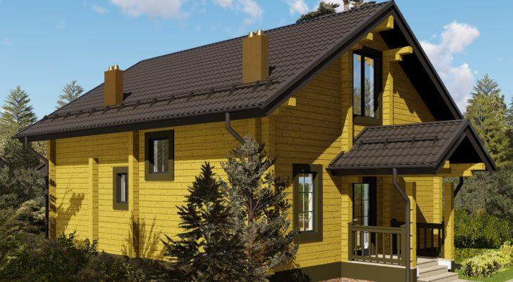 Проект дома из бруса Д-528 фото