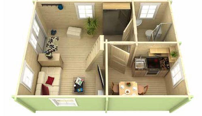 Садовый домик из бруса Eva 7/34-70 фото