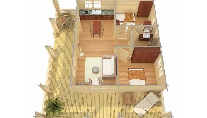 Садовый домик из бруса Pamella 4/34-70 фото