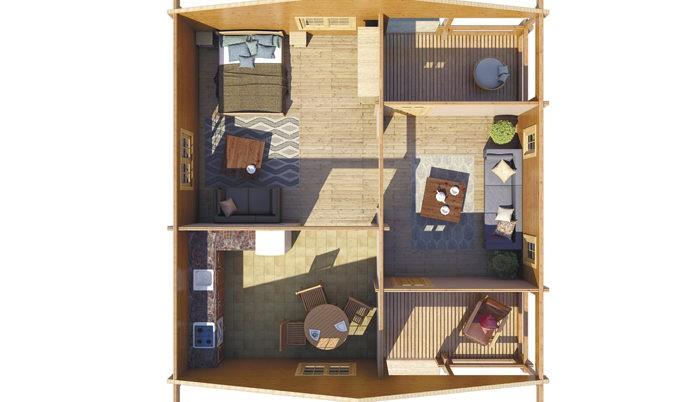 Садовый домик из бруса Oberon 2/34-70 фото