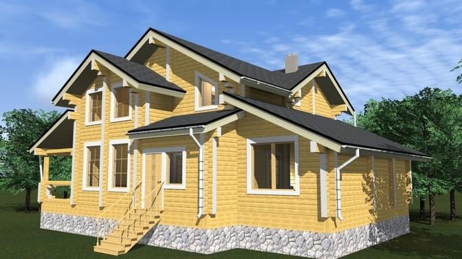 Проект дома из бруса Д-374 фото